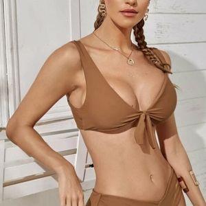Brown tie front bikini top